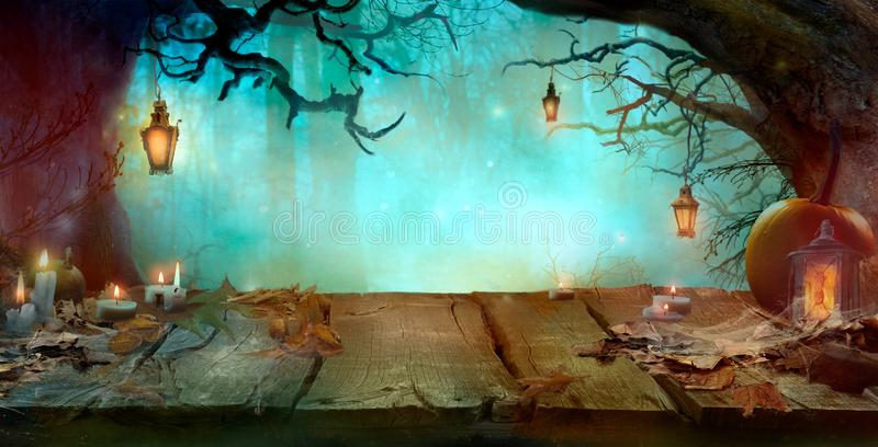 Halloween Design in Magical Forest vector illustration