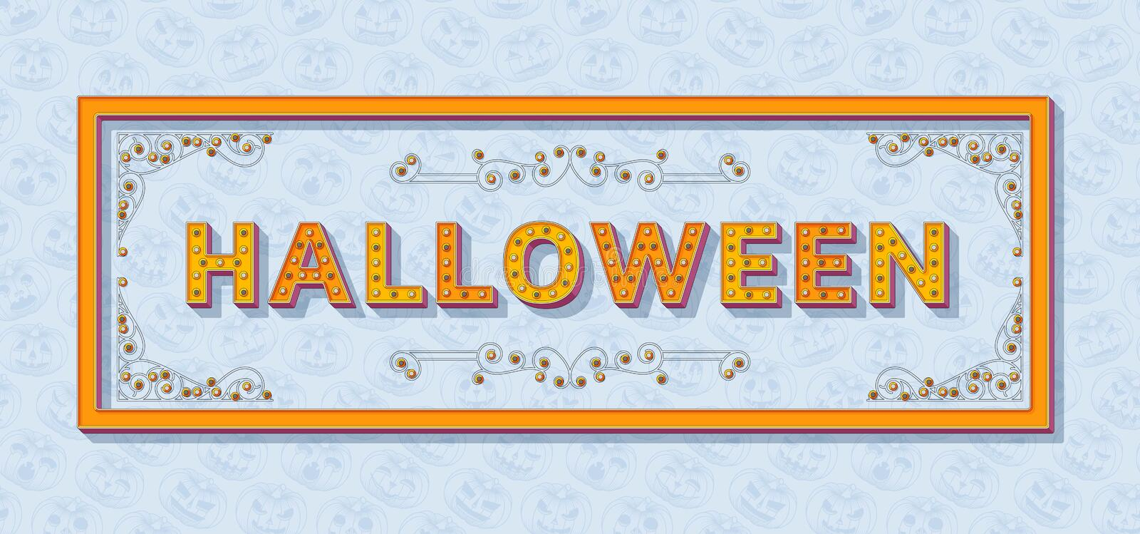 Halloween background template with retro stylized typography. 3d font with colored buttons, ornate swirls frames and stock illustration