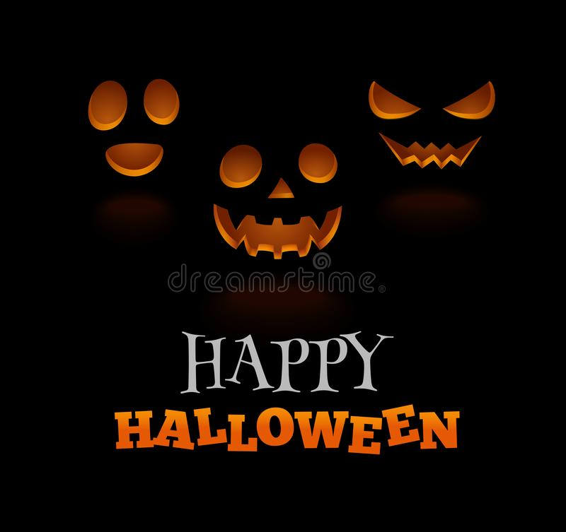 Glowing scary face pumpkins isolated on black vector illustration