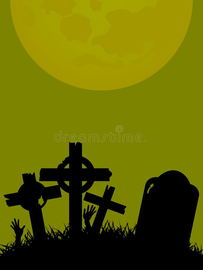 Halloween Background with tombstone cross and hands stock illustration