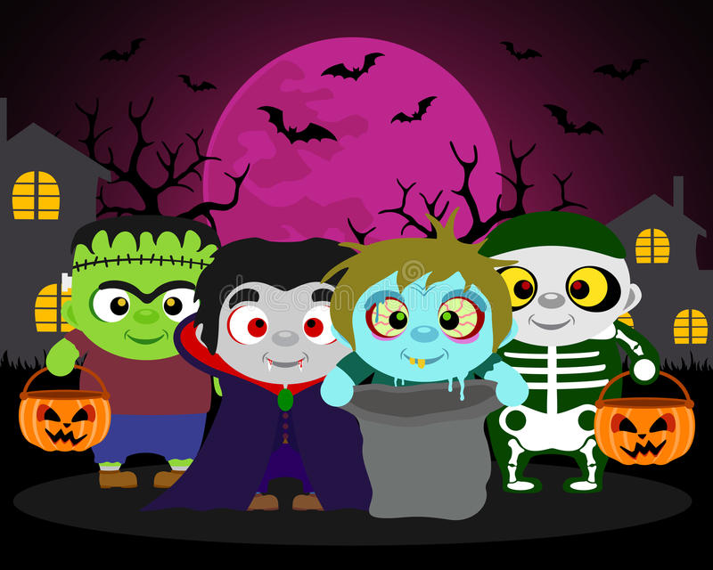 Halloween background trick or treat with kids. In Halloween costume vector illustration