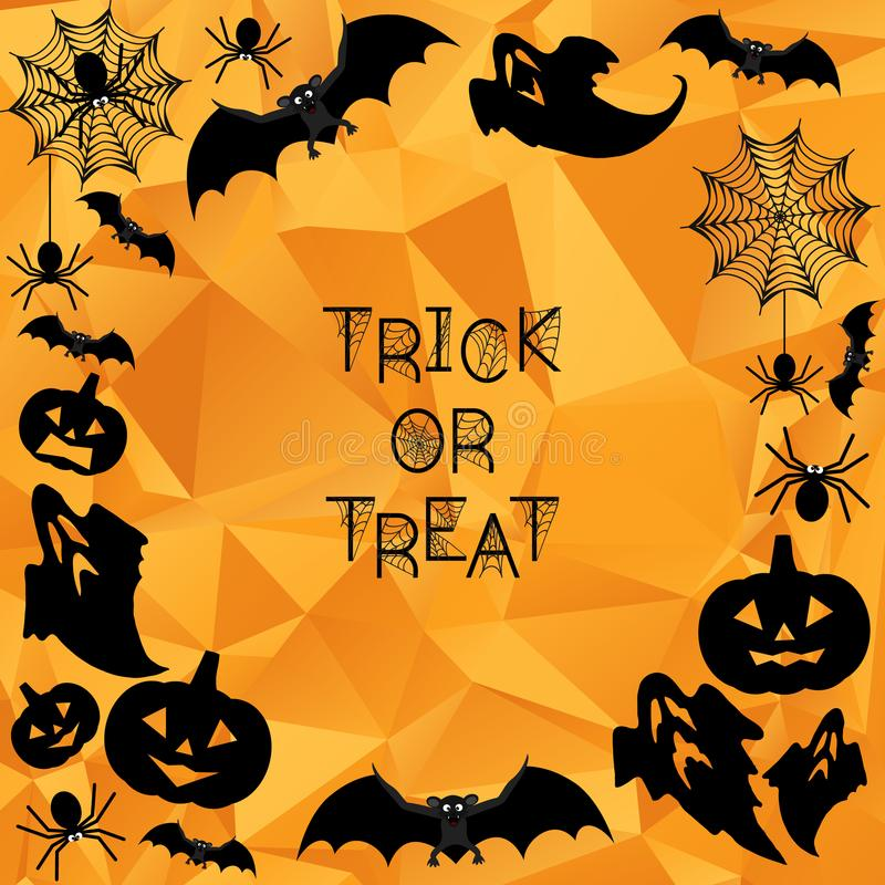 Halloween Background. Trick or treat. Halloween orange polygonal mosaic background with bats, ghosts, spiderweb, spiders and pumpkins. Vector illustration vector illustration