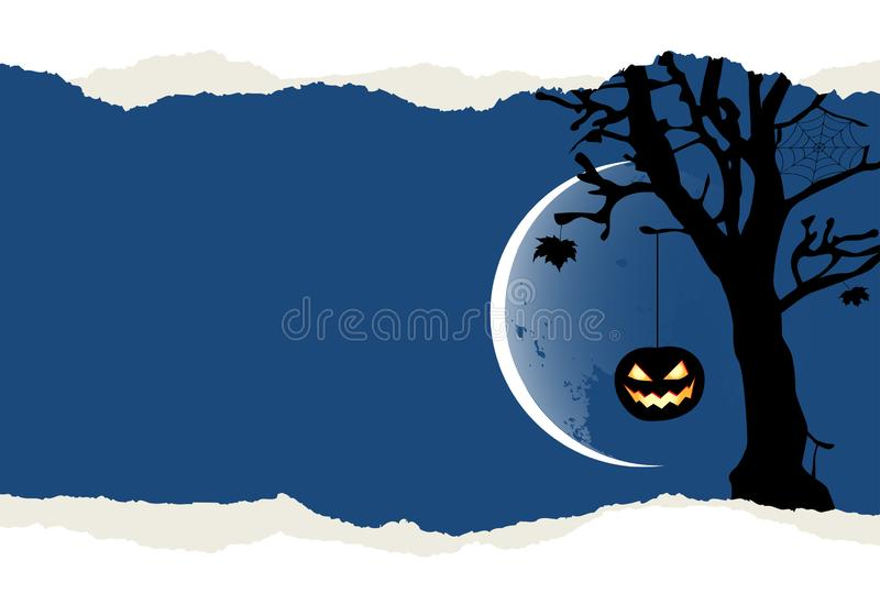Halloween background with two pumpkins hanging on the tree vector illustration