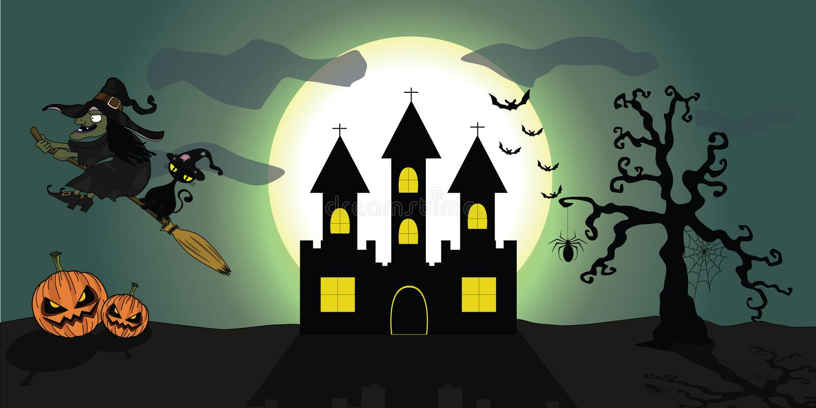 Halloween Background witch & cat royalty free stock photo