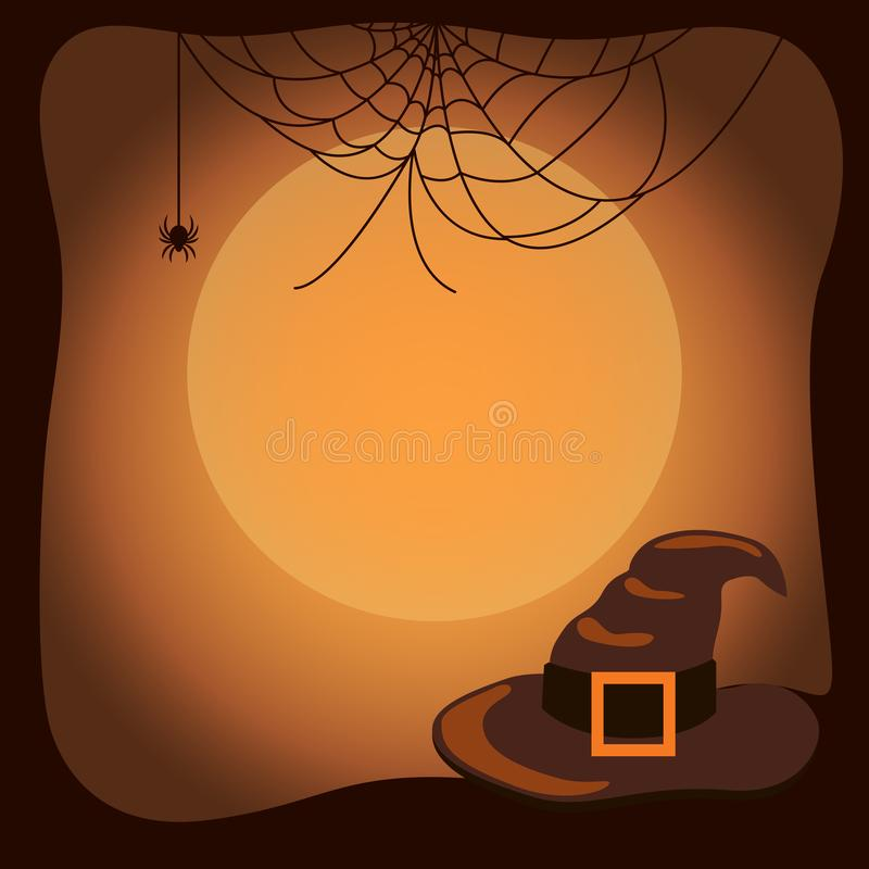 Halloween Background with Witch Hat and Spider Web. Halloween background with old witch hat with big belt, huge spider web and moon silhouette vector royalty free illustration