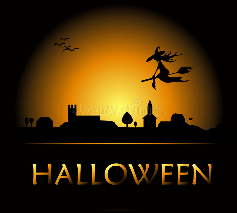 Halloween background with witch and night city royalty free illustration