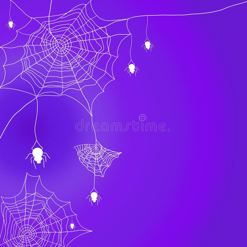 Free Halloween Background With Cobweb And Hanging Spider On Purple Background. Stock Photography - 122591452
