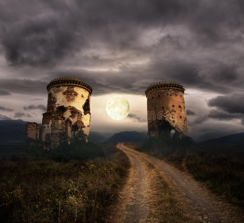 Free Halloween Background With Old Towers Stock Photography - 43086082