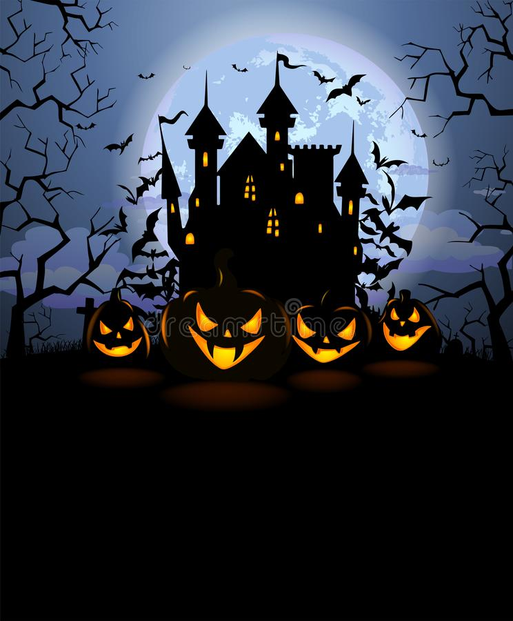 Free Halloween Background With Scary Pumpkins And Dracula Castle Royalty Free Stock Photo - 126244595