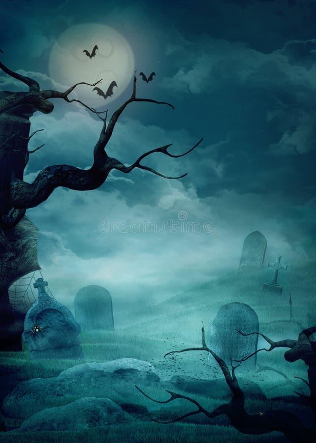 Halloween bakgrund - spöklik kyrkogård stock illustrationer