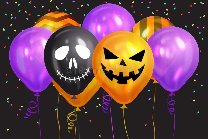 Halloween Balloons. Ghost, Pumpkin, Skeleton  and colorful confetti. Scary air balloons. Holidays, decoration and party concept stock illustration