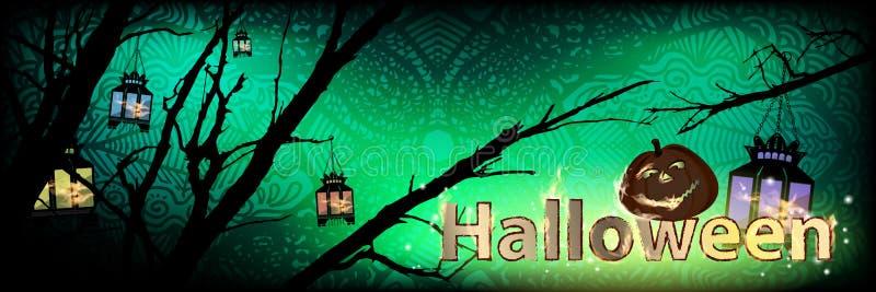 halloween Bania na nocy drzewie ilustracja wektor