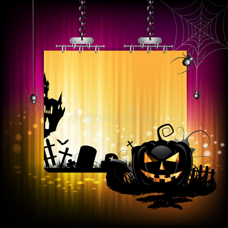 Halloween banner. Design with pumpkin and cemetery stock illustration