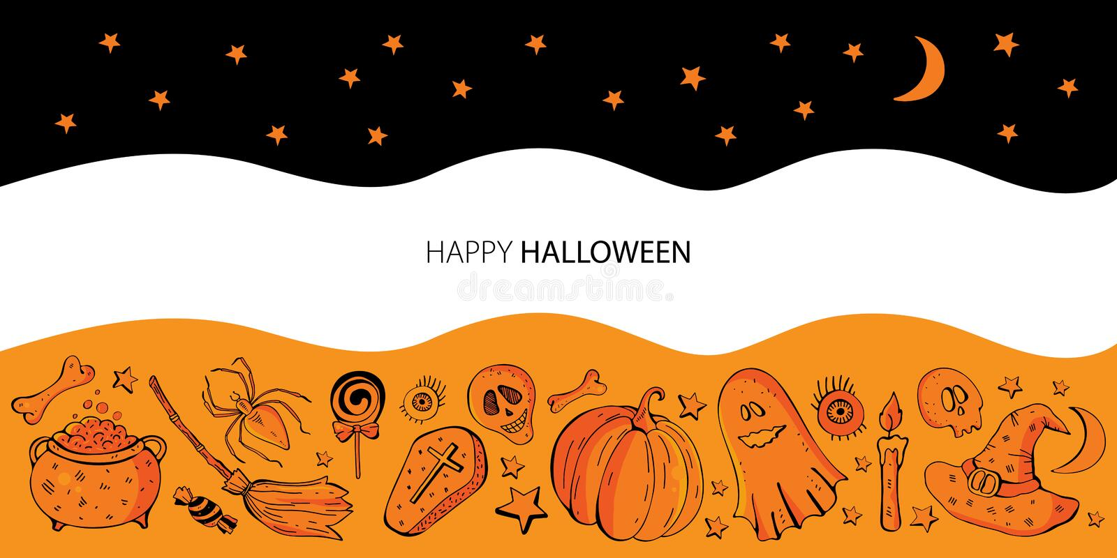 Halloween banner background. Vector cartoon orange and black with set of  elements for Halloween. Ghosts, pumpkin, skull, royalty free illustration