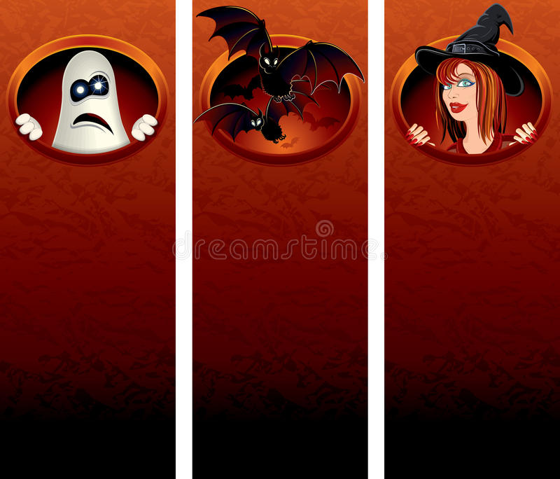 Halloween Banner With Cartoon Characters Royalty Free Stock Photography