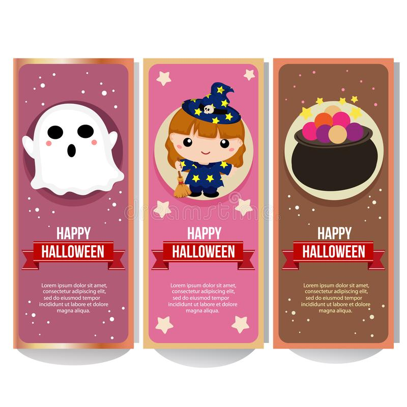 Halloween banner collection with lovable kid witch cartoon. Halloween banner collection with lovable kid witch stock illustration
