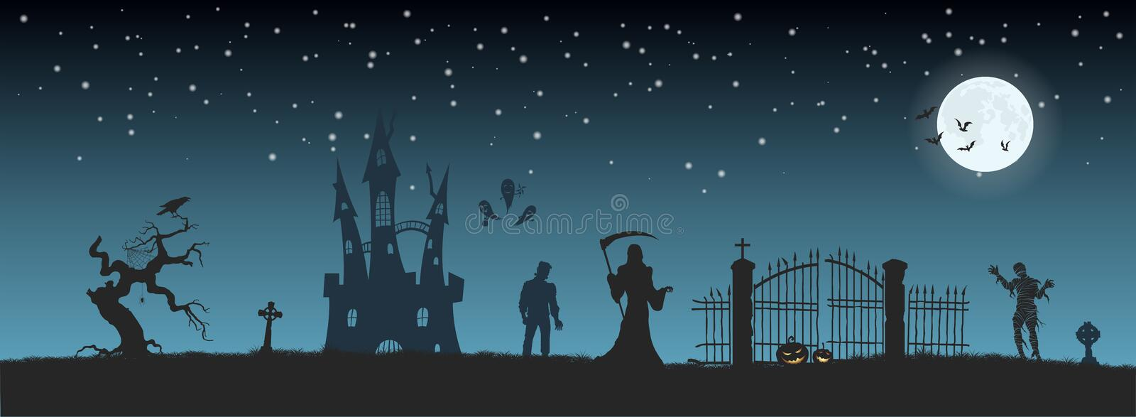 Halloween banner with fantasy silhouettes. Landscape of cemetary with mummy, death and frankenstein. Holiday scene. Of october party. Vector illustration royalty free illustration