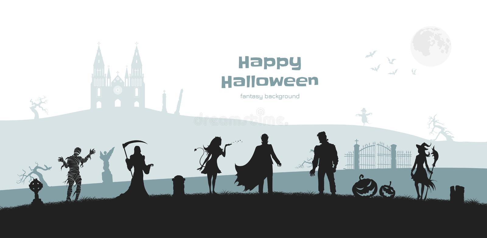 Halloween banner with fantasy silhouettes. Landscape of cemetary with mummy, witch and frankenstein. Horror panorama. Halloween banner with fantasy silhouettes vector illustration