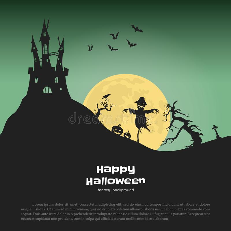 Halloween banner with fantasy silhouettes. Landscape of cemetary with scarecrow and pumkins. Holiday scene. Of october party. Vector illustration royalty free illustration
