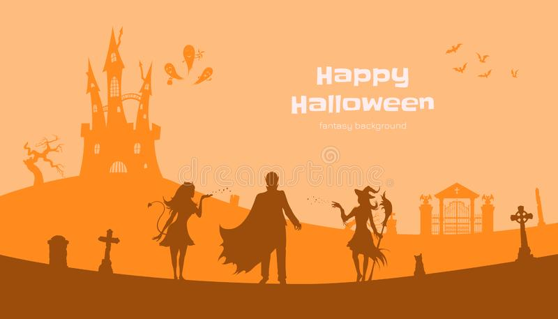 Halloween banner with fantasy silhouettes. Landscape of cemetary with witch, vampire and devil. Holiday scene. Of october party. Vector illustration stock illustration