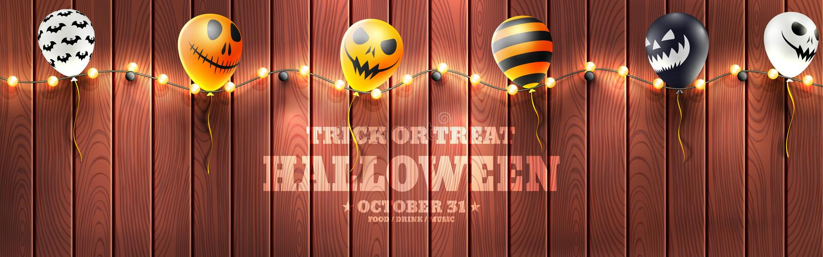 Halloween Banner with Halloween Ghost Balloons.Scary air balloons and string light on wood background.Website spooky or banner. Template.Vector illustration stock illustration