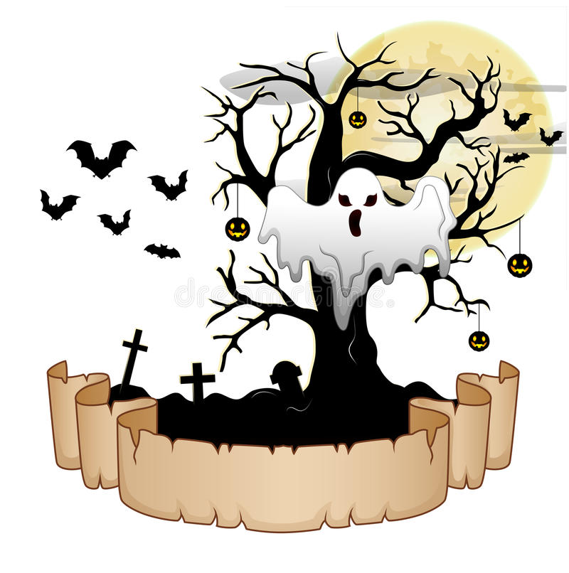 Halloween banner with ghost, pumpkin hung tree, bats and moon royalty free illustration