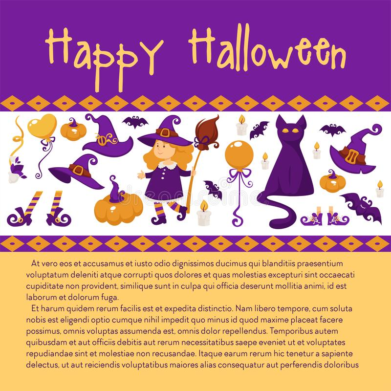 Halloween Banner with Icons on Halloween theme. stock illustration
