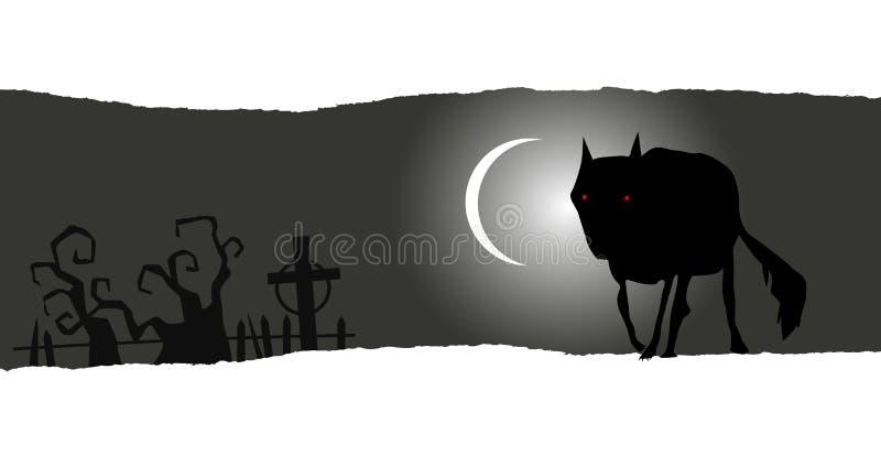 Halloween-banner met eenzame wolf vector illustratie