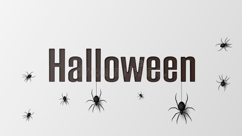 Halloween-Banner met spinnen voor banner, affiche, groetkaart, partijuitnodiging Vector illustratie EPS10 royalty-vrije illustratie