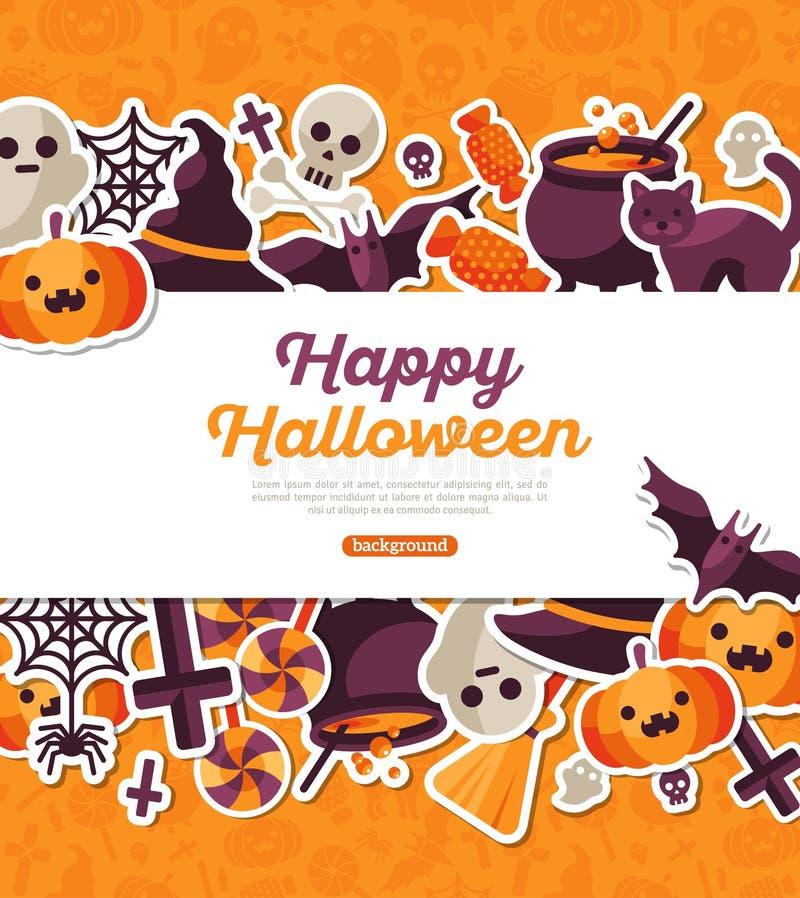 Halloween-Banner met Vlakke Pictogrammen op Oranje Achtergrond stock illustratie
