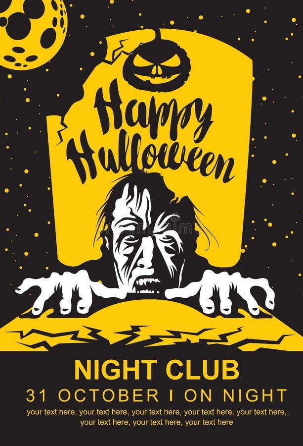 Halloween-banner met zombie, maan en graf royalty-vrije illustratie