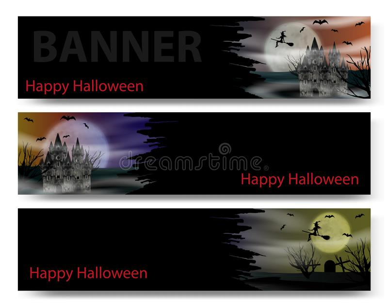 Halloween banner set on the black background with gothic castle, flying young witch, bats and full moon. Vector stock illustration