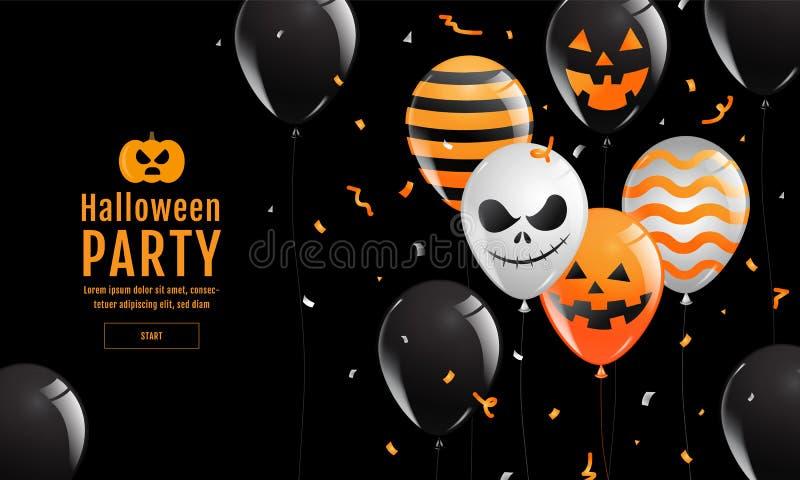 Halloween-Banner, Spook, Eng, griezelig, luchtballons, malplaatje Vectorillustratie royalty-vrije illustratie