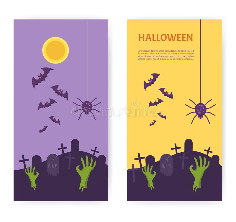 Halloween Banner. Tomb Stone Zombie Hand From Ground. A graveyard at night. Scary party invitation. Place for your text message. Vector Flat Illustration royalty free illustration