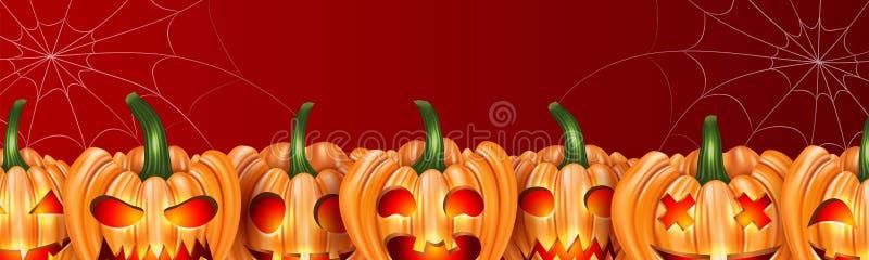 Halloween banner or website header design with orange pumpkin faces and spider web on red background. royalty free illustration