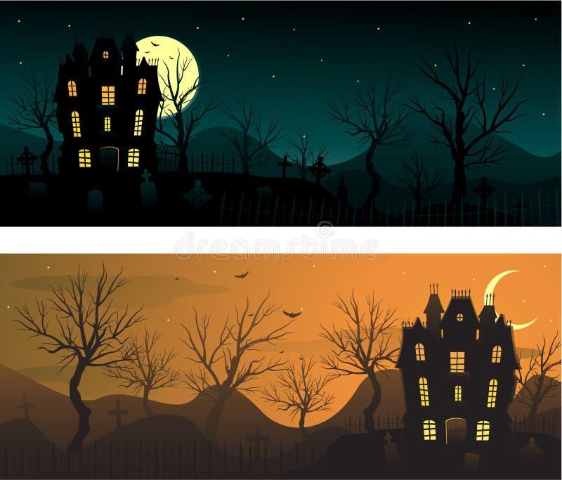 Halloween banners. Haunted hosue halloween background, vector illustration royalty free illustration