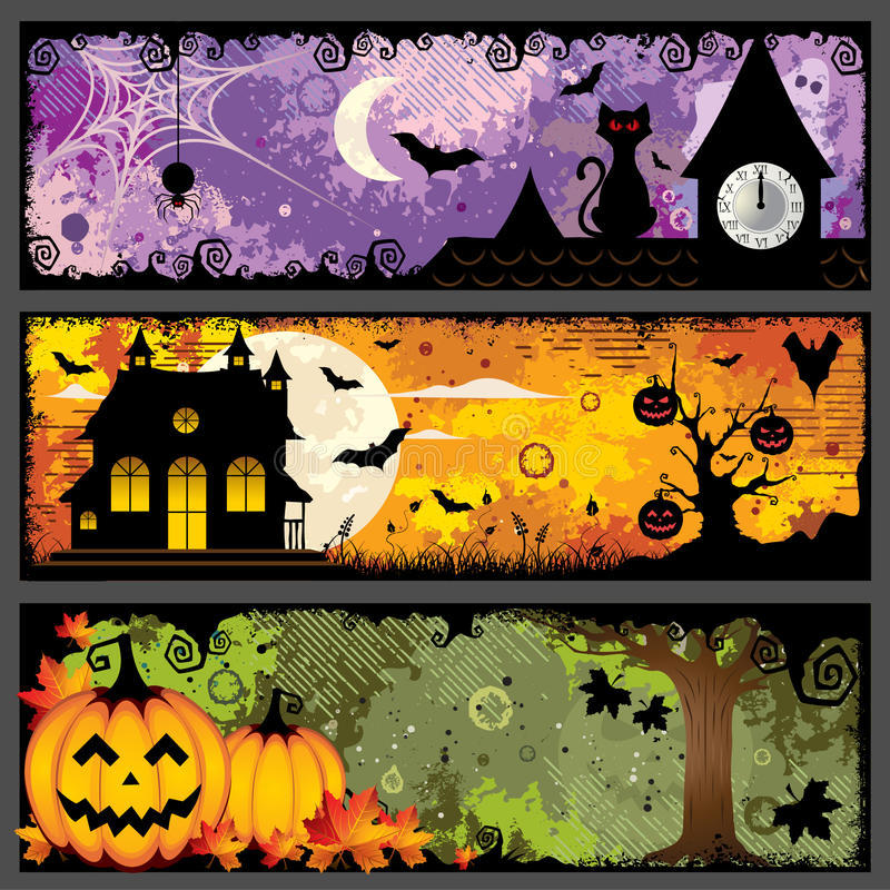 Halloween Banners. Vector set of three spooky grunge colorful halloween banners