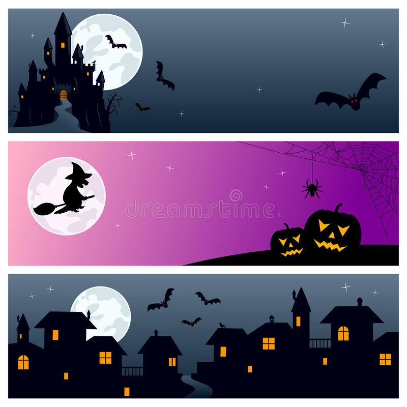 Halloween Banners [3]. Set of three horizontal Halloween banners with ghost castle, moon, bats, witch, pumpkins and night town scene. Eps file available