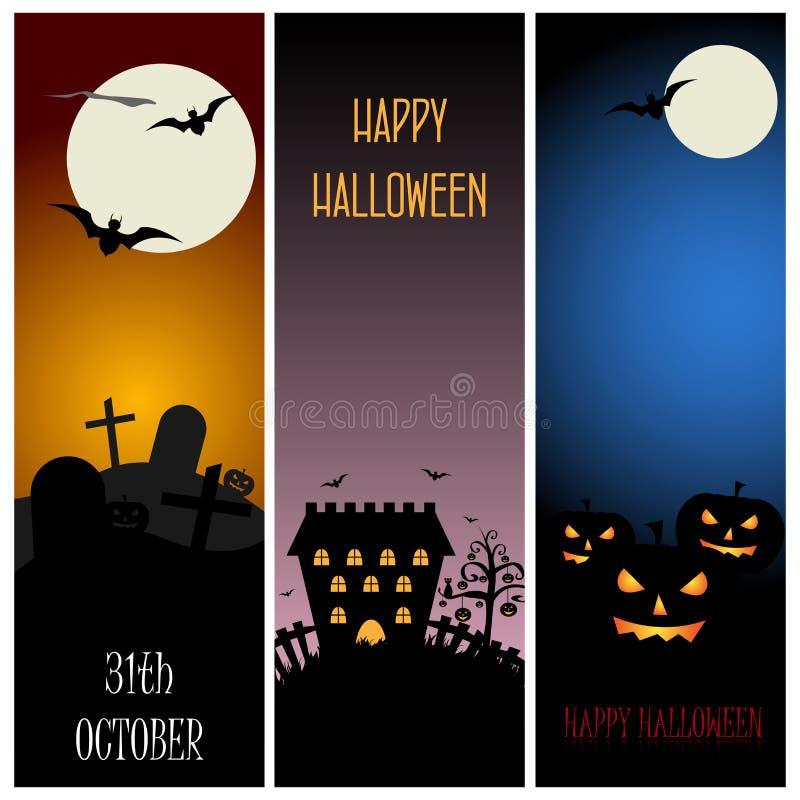 Halloween-banners royalty-vrije illustratie