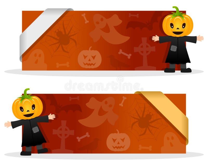 Halloween-Banners met Vogelverschrikker stock illustratie