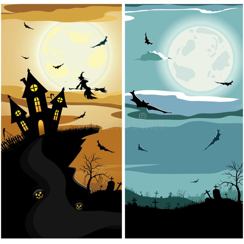 Halloween banners with night sky, witch, bat, cemetery, scary house, moon royalty free illustration