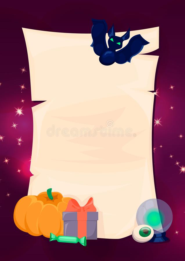 Halloween banners. Old paper with pumpkins, gift, bat. vector illustration
