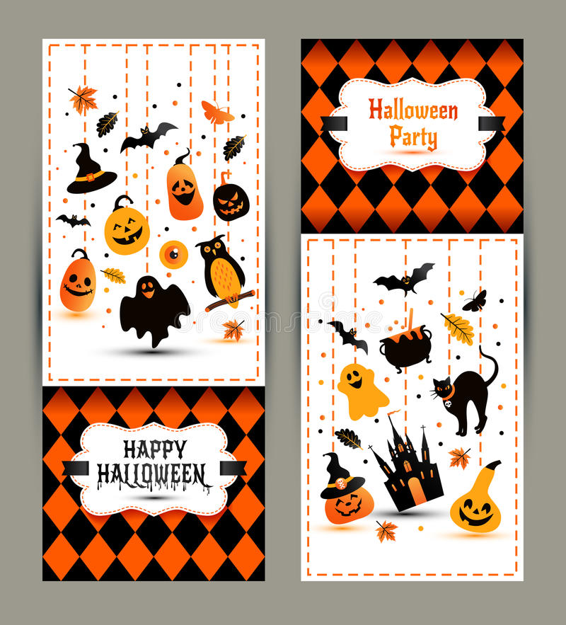 Halloween banners set on colors background. Invitation to night royalty free illustration