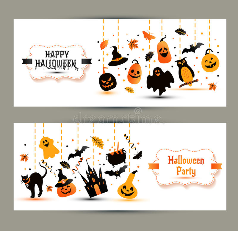 Halloween banners set on white background. Invitation to night p royalty free illustration