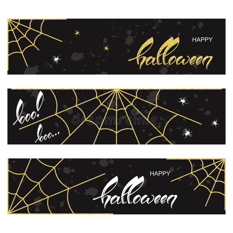 Halloween banners with spider webs. Halloween borders with spider webs in yellow and white text on black vector illustration