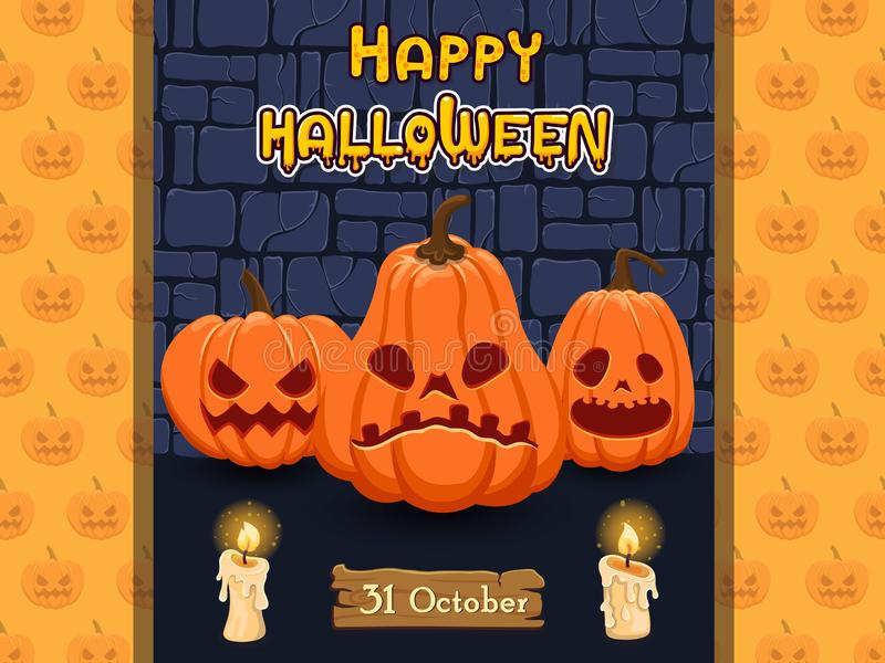 Halloween banners with text and characters. Concept cartoon Halloween elements. Vector clipart illustration on color background. Banners icon royalty free illustration