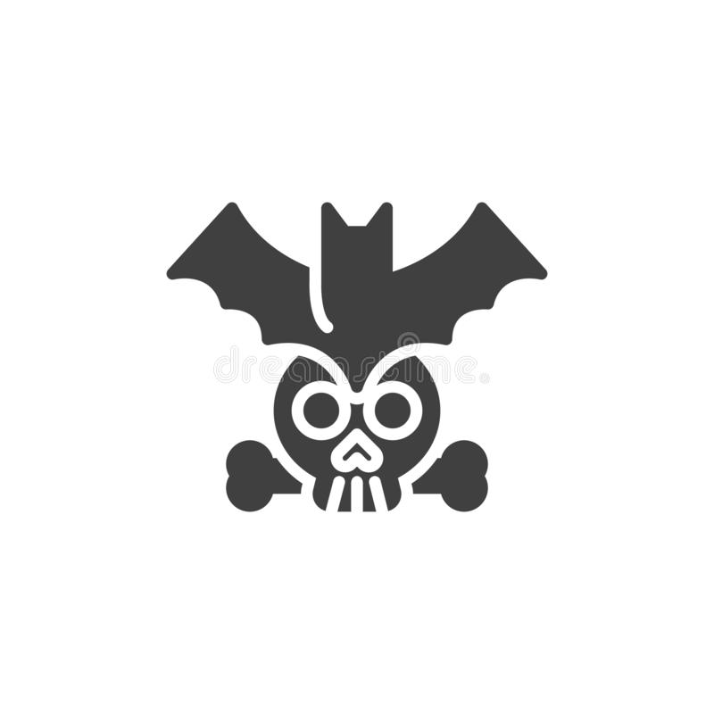 Halloween bat and human skull vector icon. Filled flat sign for mobile concept and web design. Flying bat with skull glyph icon. Symbol, logo illustration stock illustration