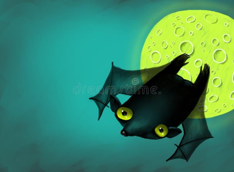 Halloween Bat In Moon Night Royalty Free Stock Photo