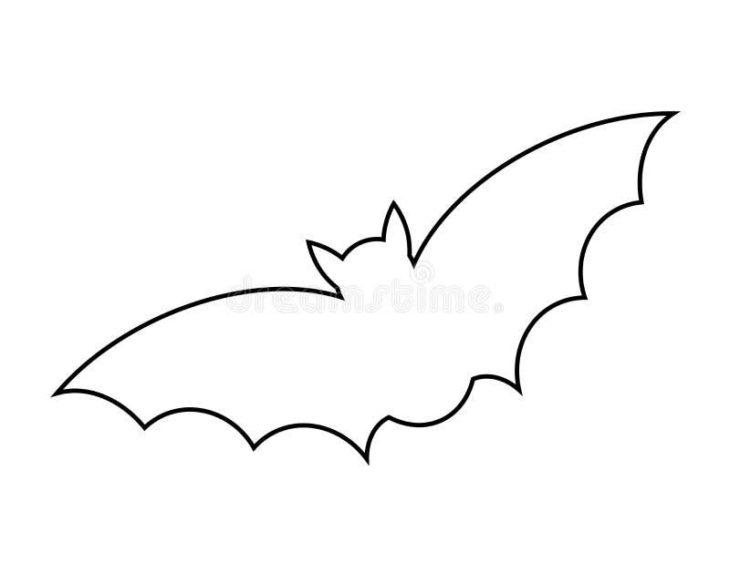 Halloween bat outline vector design isolated on white backgroud stock illustration