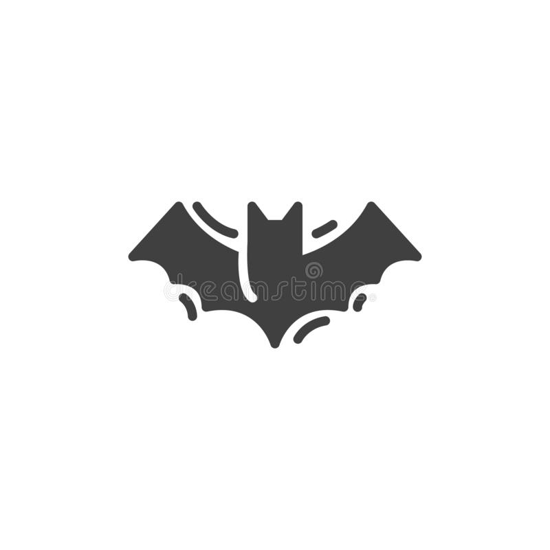 Halloween bat vector icon. Filled flat sign for mobile concept and web design. Flying bat glyph icon. Symbol, logo illustration. Vector graphics royalty free illustration